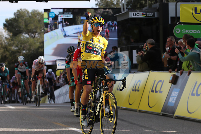 Yellow Jersey Primoz Rogloc (SLO) Team Jumbo-Visma wins Stage 6 of Paris-Nice 2021, running 202.5km from Brignoles to Biot, France. 12th March 2021.<br /> Picture: ASO/Fabien Boukla | Cyclefile<br /> <br /> All photos usage must carry mandatory copyright credit (© Cyclefile | ASO/Fabien Boukla)