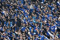 BOGOTA - COLOMBIA - 19-03-2017: Hinchas de Millonarios animan a su equipo durante partido de la fecha 10 entre Millonarios y el Independiente Santa Fe, por la Liga Aguila I-2017, jugado en el estadio Nemesio Camacho El Campin de la ciudad de Bogota. / Fans of Millonarios cheer for their team during a match of the date 10 between Millonarios and Independiente Santa Fe, for the Liga Aguila I-2017 played at the Nemesio Camacho El Campin Stadium in Bogota city, Photo: VizzorImage / Luis Ramirez / Staff.