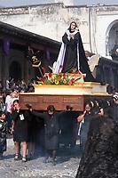 Antigua, Guatemala.  Women Carrying a Float with the Virgin Mary, Good Friday, Holy Week, La Semana Santa.