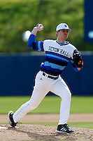 Jon Prosinski #29 of the Seton Hall Pirates pitches against the Pepperdine Waves at Eddy D. Field Stadium on March 8, 2013 in Malibu, California. (Larry Goren/Four Seam Images)