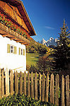 Italy, South Tyrol, Alto Adige, Dolomites, Val di Funes: farmhouse in St. Magdalena and Le Odle mountains at natural park Puez-Odle
