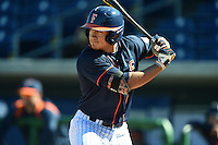 Cal State Fullerton Titans outfielder David Olmedo-Barrera (23) at bat during a game against the Alabama State Hornets on February 14, 2015 at Bright House Field in Clearwater, Florida.  Alabama State defeated Cal State Fullerton 3-2.  (Mike Janes/Four Seam Images)