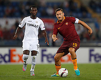 Roma's Francesco Totti, right, is challenged by Astra Giurgiu's Boubacar Mansaly the Europa League Group E soccer match between Roma and Astra Giurgiu at Rome's Olympic stadium, 29 September 2016. Roma won 4-0.<br /> UPDATE IMAGES PRESS/Isabella Bonotto