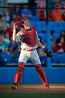 Clearwater Threshers catcher Austin Bossart (8) during a game against the Dunedin Blue Jays on April 8, 2017 at Florida Auto Exchange Stadium in Dunedin, Florida.  Dunedin defeated Clearwater 12-6.  (Mike Janes/Four Seam Images)
