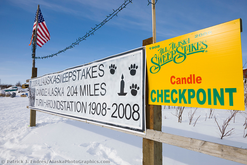 Historic ghost town of Candle, Alaska, on the Seward Peninsula, the halfway checkpoint of the 2008 All Alaska Sweepstakes sled dog race.