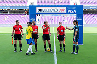 ORLANDO, FL - FEBRUARY 18: Marta #10 of Brazil stands at the coin flip with the referees before a game between Argentina and Brazil at Exploria Stadium on February 18, 2021 in Orlando, Florida.