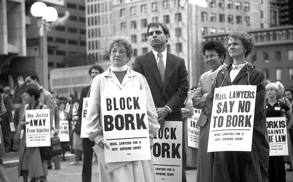 Demonstration by lawyers opposed to the nomination of Robert Bork to the US Supreme Court at Boston City Hall Plaza Boston MA 1987
