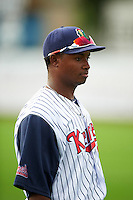 Cedar Rapids Kernels pitcher Randy Rosario (47) before a game against the Kane County Cougars on August 18, 2015 at Perfect Game Field in Cedar Rapids, Iowa.  Kane County defeated Cedar Rapids 1-0.  (Mike Janes/Four Seam Images)