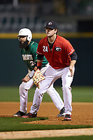 Georgia Bulldogs first baseman Adam Sasser (24) on defense against the Charlotte 49ers at BB&T Ballpark on March 8, 2016 in Charlotte, North Carolina. The 49ers defeated the Bulldogs 15-4. (Brian Westerholt/Four Seam Images)