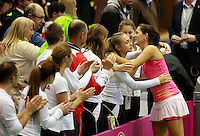 Bojana Jovanovski, Aleksandra Krunic, Fed Cup Serbia vs Canada, World group II, first round, Novi Sad, Serbia, SPENS Sports Center, Saturday, February 05, 2011. (credit & photo: Pedja Milosavljevic / +381641260959 / thepedja@gmail.com / STARSPORT)