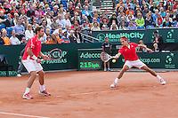 15-09-12, Netherlands, Amsterdam, Tennis, Daviscup Netherlands-Suisse, Doubles,   Roger Federer/Stanislas Wawrinka.(L)