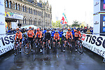 Lined up on the start line of the Women Elite Road Race of the UCI World Championships 2019 running 149.4km from Bradford to Harrogate, England. 28th September 2019.<br /> Picture: Eoin Clarke | Cyclefile<br /> <br /> All photos usage must carry mandatory copyright credit (© Cyclefile | Eoin Clarke)