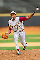 Florida State Seminoles relief pitcher Brandon Johnson #51 delivers a pitch to the plate against the Wake Forest Demon Deacons at Wake Forest Baseball Park on March 25, 2012 in Winston-Salem, North Carolina.  The Demon Deacons defeated the Seminoles 7-5.  (Brian Westerholt/Four Seam Images)