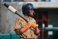Keyber Rodriguez (17) of the Down East Wood Ducks waits for his turn to bat during the game against the Charleston RiverDogs at Joseph P. Riley, Jr. Park on September 26, 2021 in Charleston, South Carolina. (Brian Westerholt/Four Seam Images)