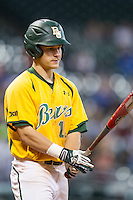 Baylor Bears outfielder Logan Brown (16) at the plate during the Houston College Classic against the Texas A&M Aggies on March 8, 2015 at Minute Maid Park in Houston, Texas. Texas A&M defeated Baylor 3-2. (Andrew Woolley/Four Seam Images)