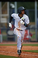 GCL Yankees East Alexander Vargas (12) bats during a Gulf Coast League game against the GCL Phillies West on July 26, 2019 at the New York Yankees Minor League Complex in Tampa, Florida.  (Mike Janes/Four Seam Images)