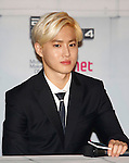 Su-Ho(EXO), Aug 11, 2014 : Suho of South Korean-Chinese K-Pop idol boy band EXO, attends a presentation for their new show on Mnet, 'EXO 90:2014', at CJ E&M Center in Seoul, South Korea.  (Photo by Lee Jae-Won/AFLO) (SOUTH KOREA)