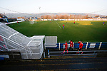 Pickering players go back the the dressing room after warming up. Stocksbridge Park Steels v Pickering Town,  Evo-Stik East Division, 17th November 2018. Stocksbridge Park Steels were born from the works team of the local British Steel plant that dominates the town north of Sheffield.<br /> Having missed out on promotion via the play offs in the previous season, Stocksbridge were hovering above the relegation zone in Northern Premier League Division One East, as they lost 0-2 to Pickering Town. Stocksbridge finished the season in 13th place.