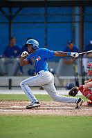 Toronto Blue Jays center fielder Reggie Pruitt (63) follows through on a swing during an Instructional League game against the Philadelphia Phillies on October 7, 2017 at the Englebert Complex in Dunedin, Florida.  (Mike Janes/Four Seam Images)