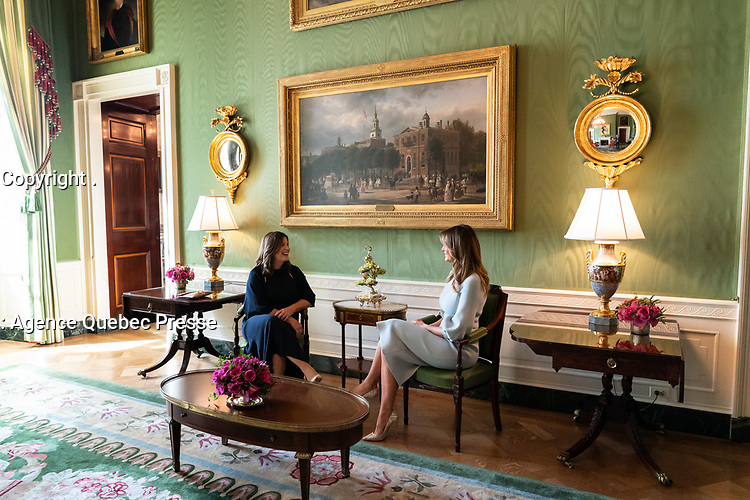 First Lady Melania Trump talks with Mrs. Jenny Morrison, wife of Australian Prime Minister Scott Morrison Friday, Sept. 20, 2019, in the Green Room of the White House. (Official White House Photo by Andrea Hanks)