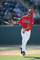 Alfonso Rivas (25) of the Arizona Wildcats tosses his bat aside after drawing a walk against the UCLA Bruins at Jackie Robinson Stadium on March 19, 2017 in Los Angeles, California. UCLA defeated Arizona, 8-7. (Larry Goren/Four Seam Images)