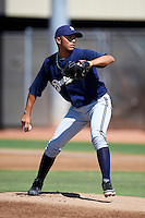 Milwaukee Brewers minor league pitcher Jorge Ortega #47 during an instructional league game against the Cincinnati Reds at Maryvale Baseball Park on October 3, 2012 in Phoenix, Arizona.  (Mike Janes/Four Seam Images)