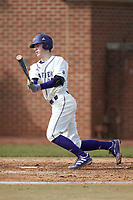 Cole Singsank (16) of the High Point Panthers follows through on his swing against the Bryant Bulldogs at Williard Stadium on February 21, 2021 in  Winston-Salem, North Carolina. The Panthers defeated the Bulldogs 3-2. (Brian Westerholt/Four Seam Images)