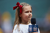 """A young fan waits to yell """"Play Ball"""" prior to the NCAA baseball game between the Oklahoma Sooners and the Missouri Tigers in game four of the 2020 Shriners Hospitals for Children College Classic at Minute Maid Park on February 29, 2020 in Houston, Texas. The Tigers defeated the Sooners 8-7. (Brian Westerholt/Four Seam Images)"""