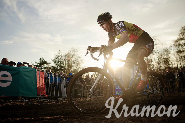 a sun-powered Sven Nys (BEL/Crelan-AAdrinks) leading in the last lap<br /> <br /> GP Zonhoven 2014