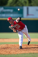 Hickory Crawdads relief pitcher Jeffrey Springs (19) in action against the Delmarva Shorebirds at L.P. Frans Stadium on June 18, 2016 in Hickory, North Carolina.  The Crawdads defeated the Shorebirds 1-0 in game one of a double-header.  (Brian Westerholt/Four Seam Images)
