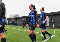 illustration picture showing both teams with Jody Vangheluwe (22) of Club Brugge and Nicky Van Den Abbeele (28) of Club Brugge entering the pitch during a female soccer game between Club Brugge Dames YLA and White Star Woluwe on the 12 th matchday of the 2020 - 2021 season of Belgian Scooore Womens Super League , saturday 30 January 2021  in Brugge , Belgium . PHOTO SPORTPIX.BE | SPP | DAVID CATRY