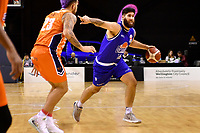 Tohi Smith-Milner of the Wellington Saints dribbles the ball during the round two NBL match between the Wellington Saints and the Southland Sharks at TSB Bank Arena, Wellington, New Zealand on Friday 7 May 2021.<br /> Photo by Masanori Udagawa. <br /> www.photowellington.photoshelter.com