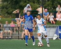 Allston, MA - Saturday August 19, 2017: Morgan Andrews, Marta Vieira Da Silva during a regular season National Women's Soccer League (NWSL) match between the Boston Breakers (blue) and the Orlando Pride (white/light blue) at Jordan Field.