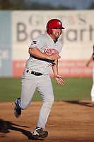 David Jacob (23) of the Vancouver Canadians runs the bases during a game against the Salem-Keizer Volcanoes at Volcanoes Stadium on July 24, 2017 in Keizer, Oregon. Salem-Keizer defeated Vancouver, 4-3. (Larry Goren/Four Seam Images)