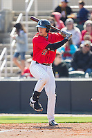 Trey Michalczewski (27) of the Kannapolis Intimidators at bat against the Hickory Crawdads at CMC-Northeast Stadium on April 9, 2014 in Kannapolis, North Carolina.  The Intimidators defeated the Crawdads 1-0.  (Brian Westerholt/Four Seam Images)