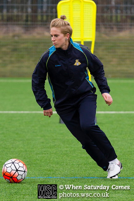 Doncaster Rovers Belles 1 Chelsea Ladies 4, 20/03/2016. Keepmoat Stadium, Womens FA Cup. Natasha Dowie of Doncaster Rovers Belles training on the astroturf pitch outside The Keepmoat Stadium. Photo by Paul Thompson.