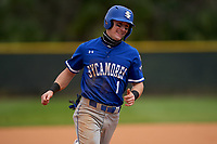 Indiana State Sycamores Jordan Schaffer (1) rounds the bases on a home run by Max Wright (not shown) during the teams opening game of the season against the Pitt Panthers on February 19, 2021 at North Charlotte Regional Park in Port Charlotte, Florida.  (Mike Janes/Four Seam Images)