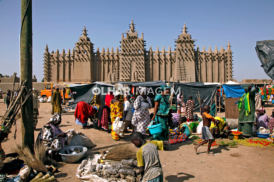 Mercado e Mesquita de Djenne. Mali. 2010.  Foto de Caio Vilela.