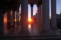 The University of Virginia rotunda columns on central grounds.