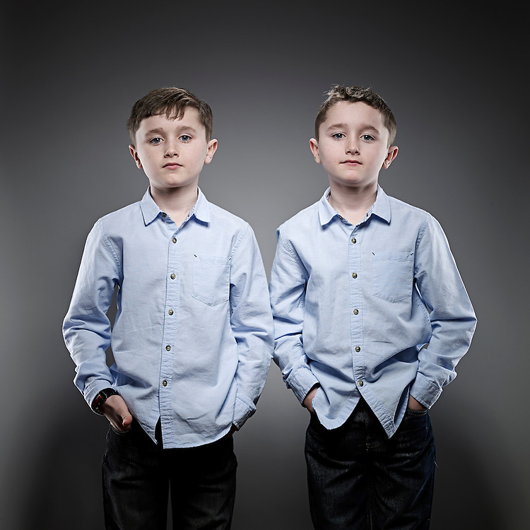 © John Angerson<br /> 140219 - Ethan and Kai Thompson.<br /> They both had leukemia when they were younger. Shot at their home in Birmingham<br /> UK.