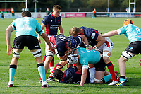 Luke Frost of London Scottish in action during the Championship Cup match between London Scottish Football Club and Nottingham Rugby at Richmond Athletic Ground, Richmond, United Kingdom on 28 September 2019. Photo by Carlton Myrie / PRiME Media Images