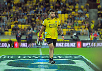 Hurricanes prop Tyrell Lomax walks off after being red carded during the Super Rugby match between the Hurricanes and Blues at Sky Stadium in Wellington, New Zealand on Saturday, 7 March 2020. Photo: Dave Lintott / lintottphoto.co.nz