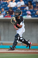 Kannapolis Cannon Ballers catcher Victor Torres (2) on defense against the Salem Red Sox at Atrium Health Ballpark on July 30, 2021 in Kannapolis, North Carolina. (Brian Westerholt/Four Seam Images)
