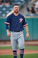 Donovan Walton (14) of the Tacoma Rainiers during the game against the Salt Lake Bees at Smith's Ballpark on May 13, 2021 in Salt Lake City, Utah. The Rainiers defeated the Bees 15-5. (Stephen Smith/Four Seam Images)