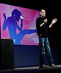Apple CEO Steve Jobs talks about iTunes and iCloud during a keynote address to the Apple Worldwide Developers Conference in San Francisco, Monday, June 6, 2011.  (AP Photo/Paul Sakuma)