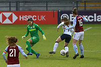 Angela Addison of Tottenham Hotspur gets the ball off Lisa Weiß of Aston Villa during Tottenham Hotspur Women vs Aston Villa Women, Barclays FA Women's Super League Football at the Hive Stadium on 13th December 2020
