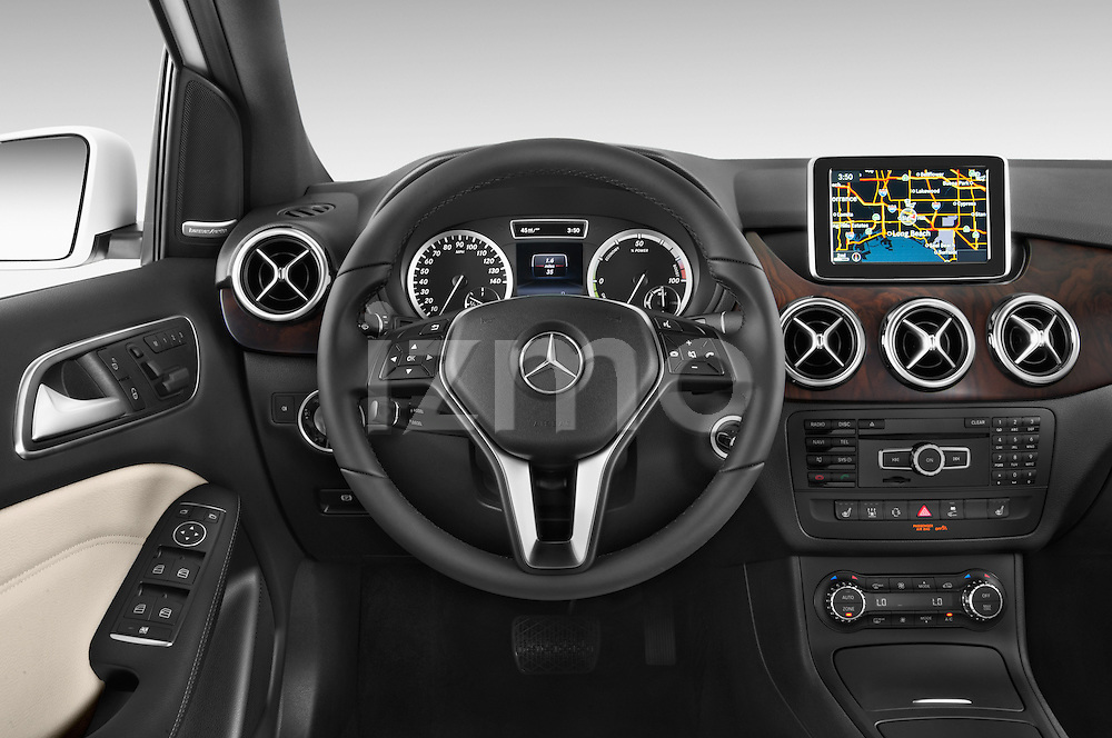 Car pictures of steering wheel view of a 2014 Mercedes Benz B-Class Electric Drive 5 Door MPV Steering Wheel