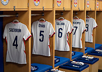 HARRISON, NJ - MARCH 08: The jerseys of Becky Sauerbrunn #4, Kelley O'Hara #5, Andi Sullivan #6 of the United States line the locker room during a game between Spain and USWNT at Red Bull Arena on March 08, 2020 in Harrison, New Jersey.