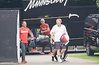 Nationaltrainer Horst Hrubesch und DFB-Sportdirekter Hansi Flick kommen zum Training - Training Deutsche Olympiamannschaft des DFB, Commerzbank Arena, Frankfurt