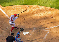 30 April 2017: Washington Nationals first baseman Ryan Zimmerman singles to left in the 8th inning against the New York Mets at Nationals Park in Washington, DC. The Nationals defeated the Mets 23-5, with the Nationals setting several individual and team records, in the third game of their weekend series. Mandatory Credit: Ed Wolfstein Photo *** RAW (NEF) Image File Available ***